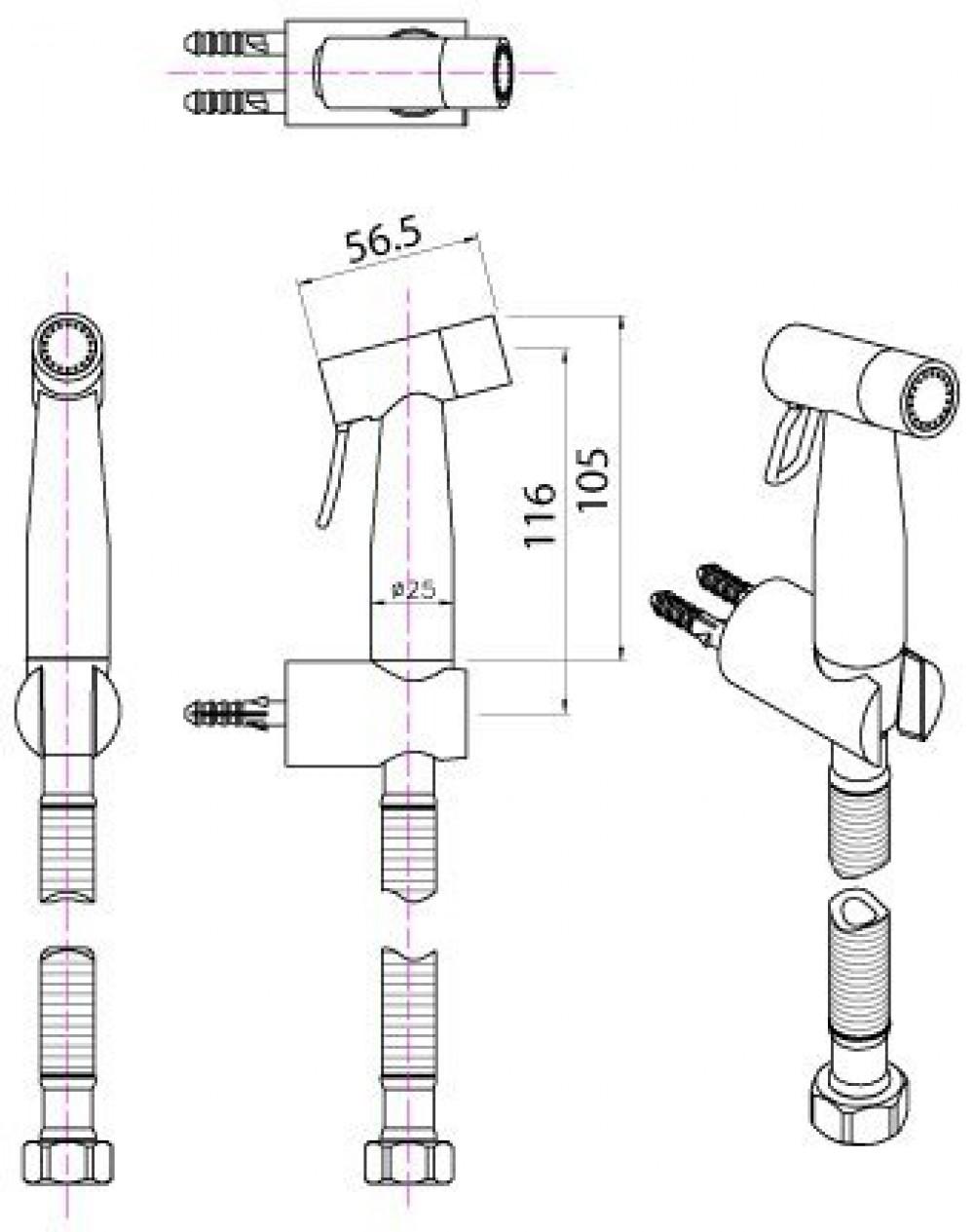 maro luxsta08 bidet brause technische zeichnungen