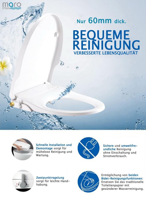 WC-Sitz mit integriertem Bidet CG109 - mit Reinigungsfunktion für Damen - für optimale Intimpflege