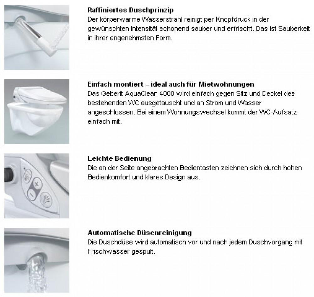 Geberit Dusch WC 4000 aufsatz für jeden wc