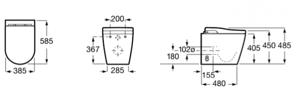 skizze abmessung roca in-tank modell NEU 2021