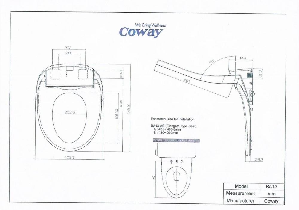 Coway technice zeighnungen ba13 dusch wc