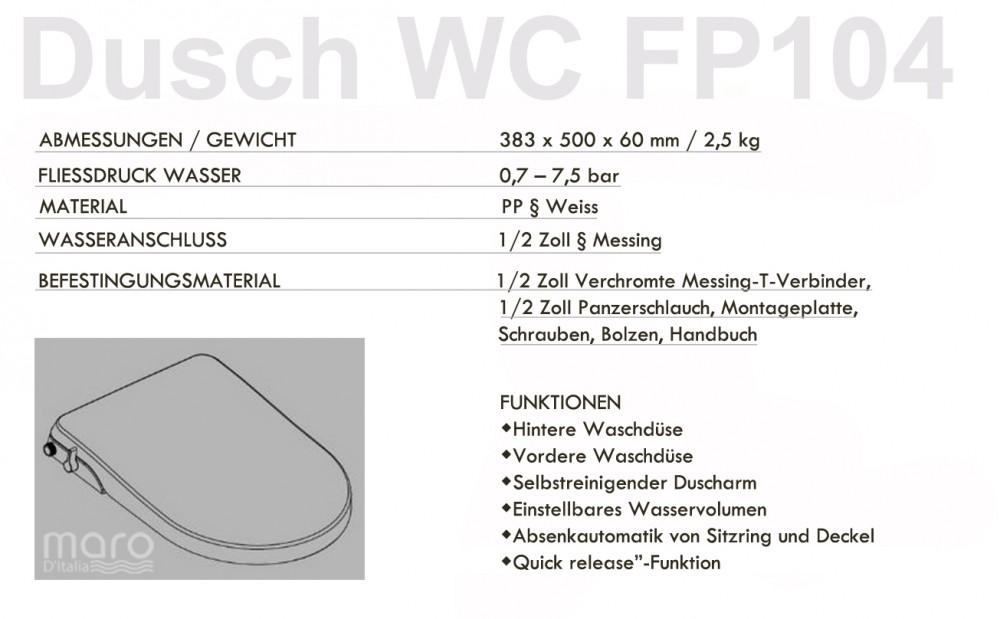 Spezifikationen dusch wc popodusche fp104 stromlos