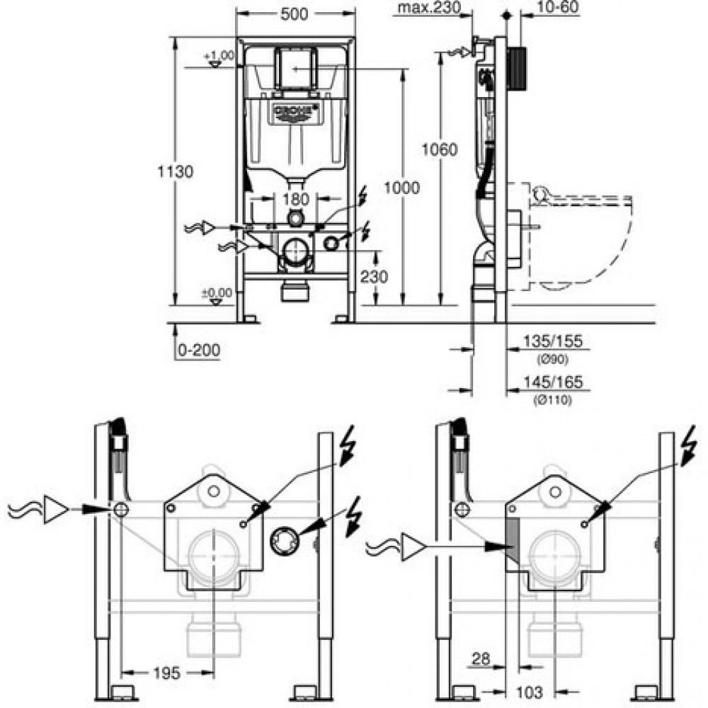 technische zeichnung grohe sensia arena 39354SH1