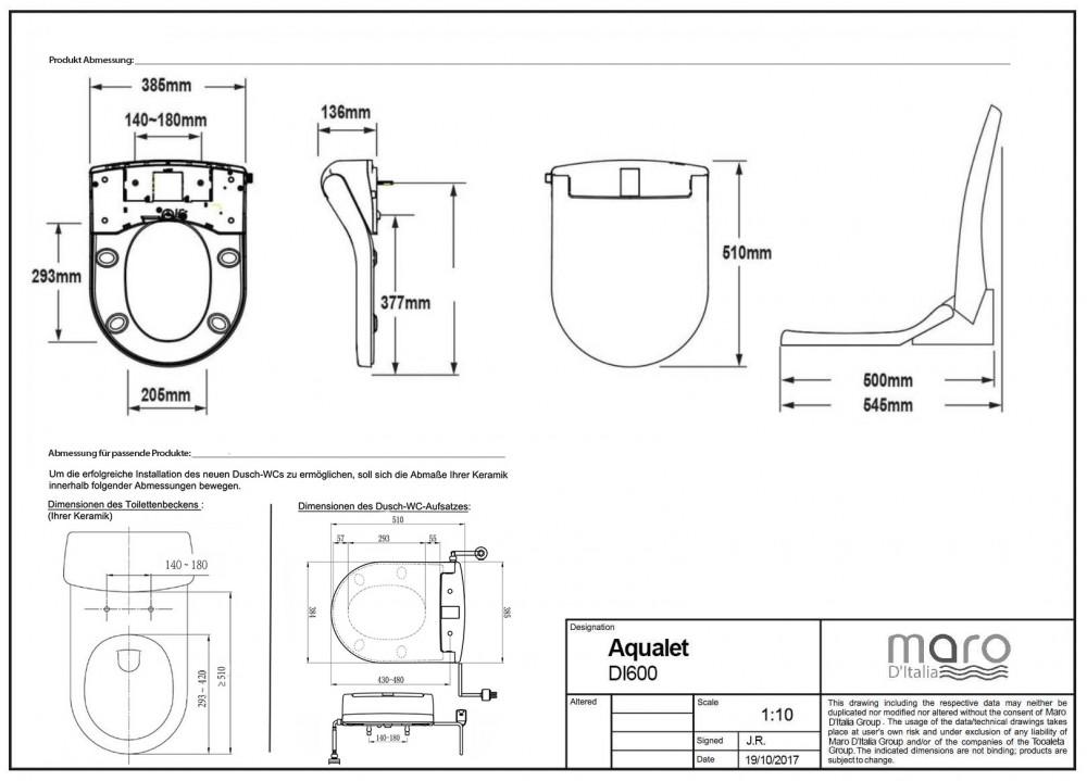 maro Di600 Dusch WC technische zeichnungen