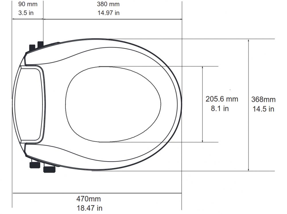 technische zeichnung stomlos dusch wc aufsatz