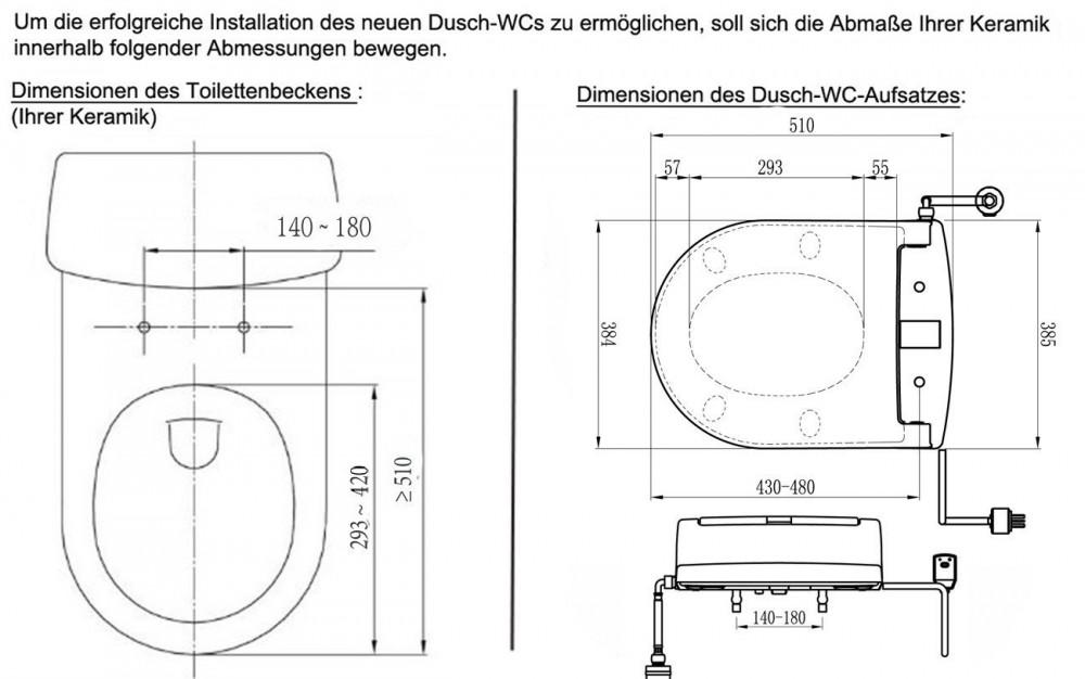 Di600 Dusch WC technische zeichnungen