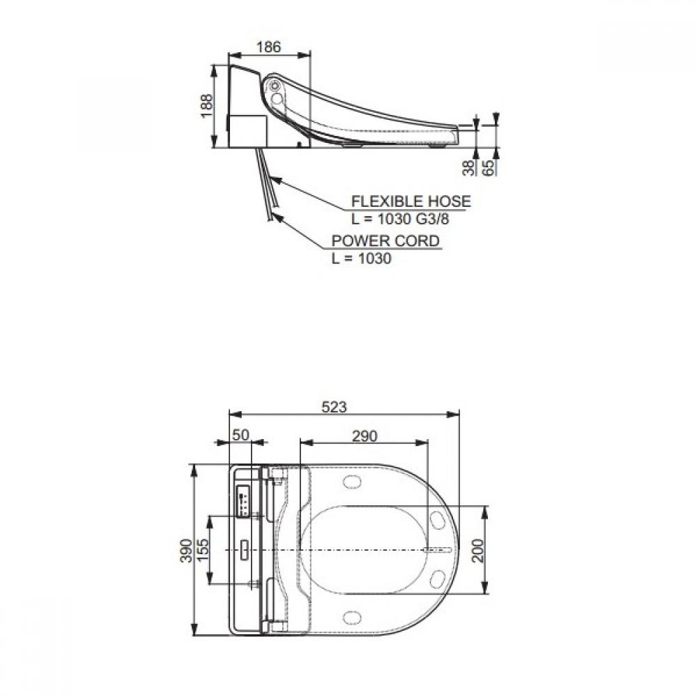 technische zeichnungen spezifikationen toto washlet GL 2.0 verdeckten