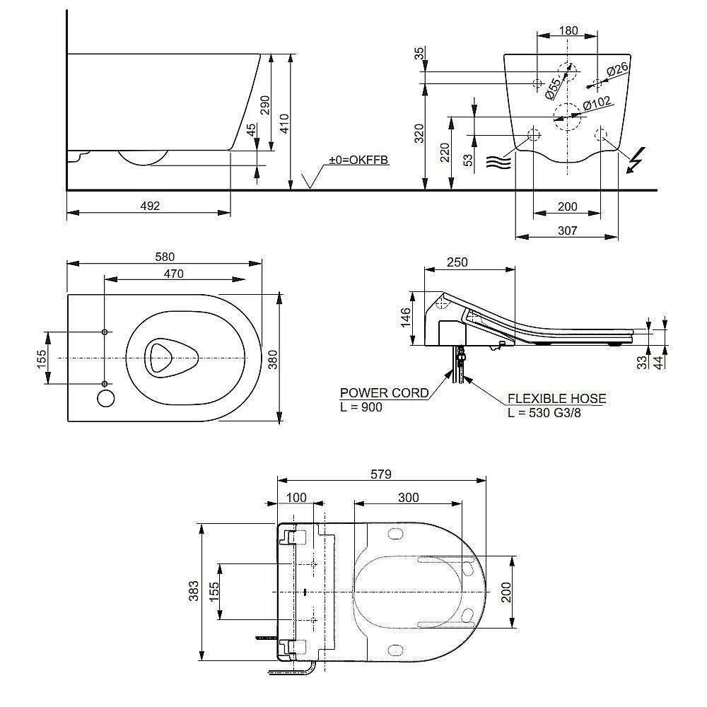 toto washlet rx technische zeichnungen