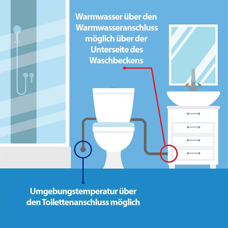 stromlos dusch wc aufsatz warmwasser